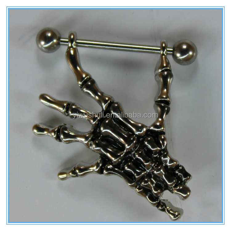hand shape fake nipple rings piercing