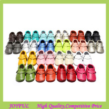 Cheap best selling new fashion high quality newborn baby moccasins leather soft baby shoe in china