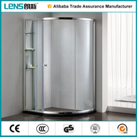 ABS silding roller curved glass partitions for shower cubicle