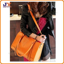 Fashion Style custom women canvas handbag pu ladies handbag