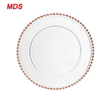 China manufacturers rose gold beaded wedding glass charger plate