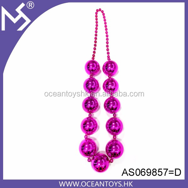 Party decoration pink necklace 48'' jumbo big custom mardi gras beads