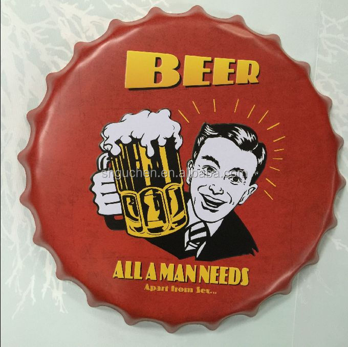 Beer Embossed metal wall <strong>arts</strong> wholesale Beer Cap Round tin sign for super football club party home Bar Pub decorations