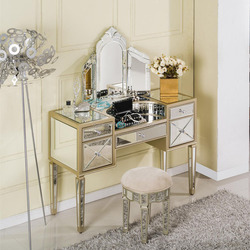 home furniture new design mirrored dressing table with 3 drawers
