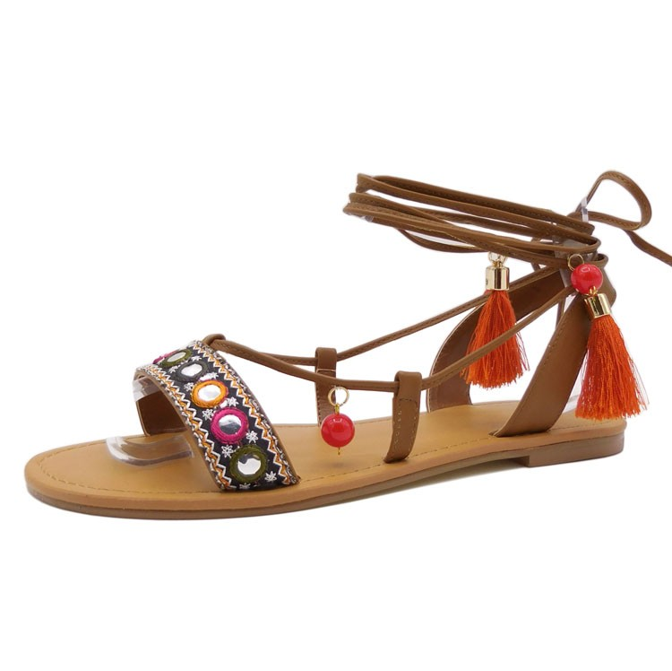 OEM Good Quality bohemian style <strong>sandal</strong> ankle tie tassel flat <strong>sandal</strong> for ladies
