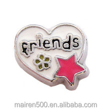 enamel heart floating charms lockets wholesale
