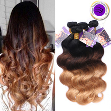 8A Brazilian Body Wave 3 Bundles 1b 4 27 Remy Hair ombre virgin hair
