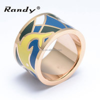 Factory Price Cheap Stainless Steel Ladies Gold Rings With Enamel