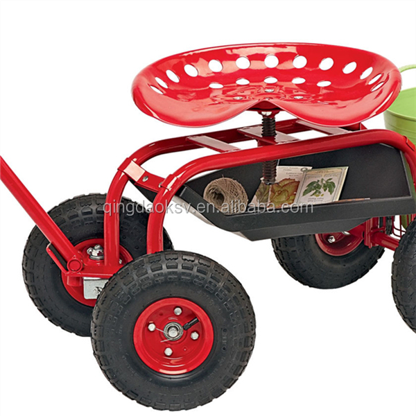 Metal Tractor Seat With Wheels : Garden metal swing seat on wheels with tool tray turnbar