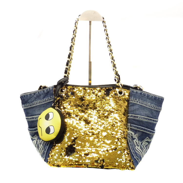 2016 Fashion Gold Flash Denim tote Bag, Jean Tote Bag simple style shoulder bag