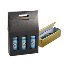 OEM custom corrugated 3 pack wine Carrier box bottle boxes