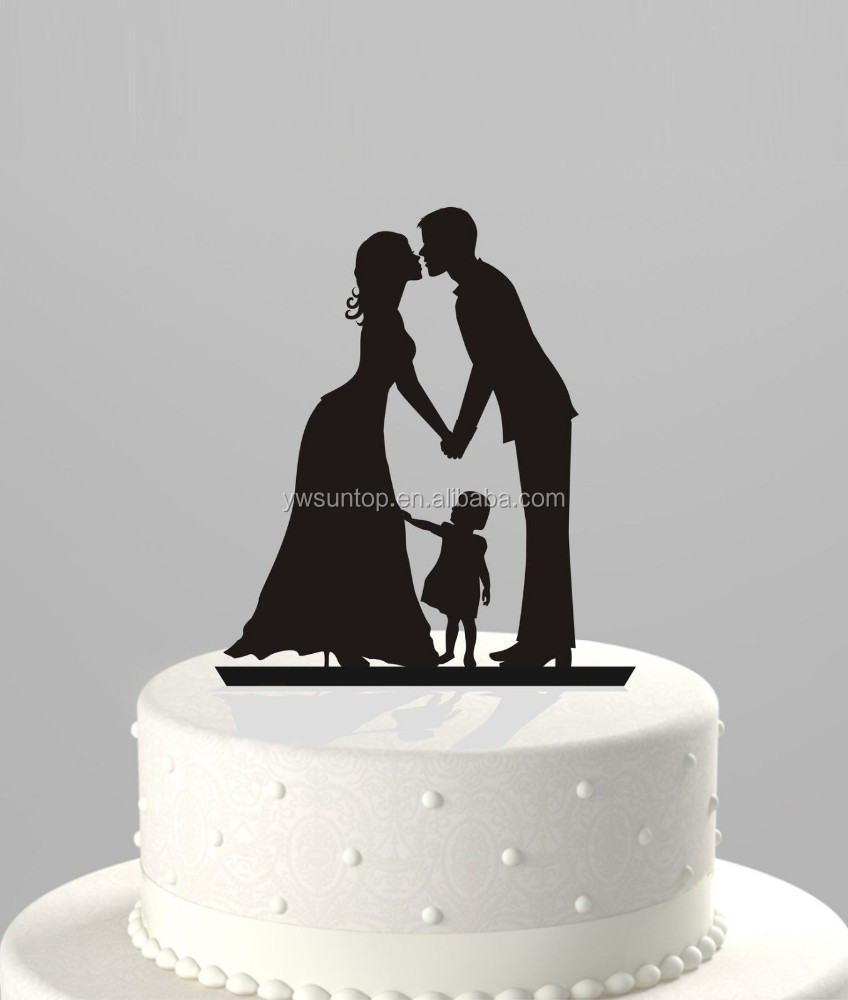 kissing family acrylic Cake Topper with girl kissing family cake topper