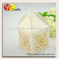 Free ribbon! various colors wedding decoration heart lasercut wedding box favor box adding the names and dates for free