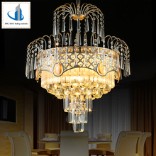 Five Star Hotel Decoration Luxury Golden High Ceiling Chandleier Crystal Ball Pendant Lighting