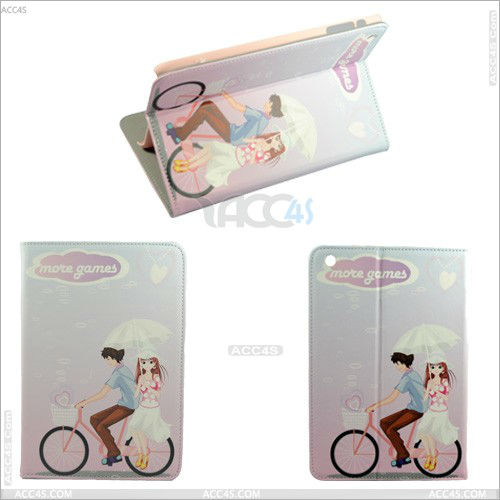 Cartoon Lover Cycling Stand Leather Case With Lover Grain for iPad Mini P-iPDMINICASE065