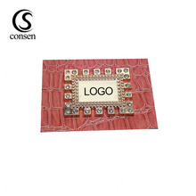 Red background custom metal name leather label sewing tag patches for clothing