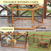 2 Ways Use Foldable Strong wood dog cage