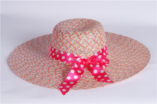Fashion Ladies Summer Sun Beach Floppy Derby Hat Wide Large Brim straw hat T-369