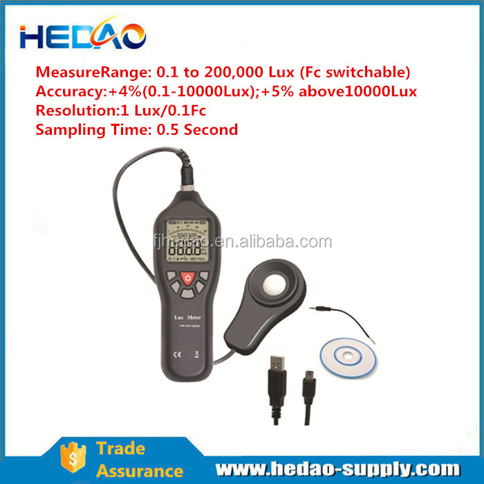 0.1 to 200,000 Lux digital light meter luminous flux meter