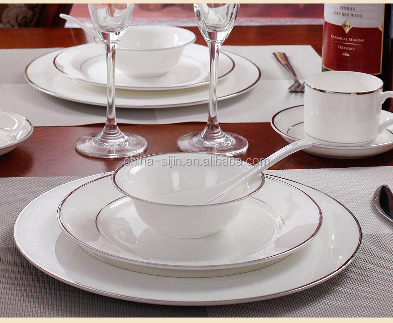 "High bone china dinnerware sliver edge quality table ware bone china 4.5"" bowl 10.5"" plate 8""plate coffee cup and dish"