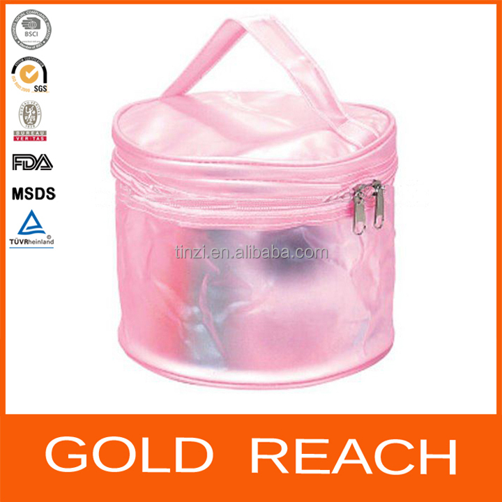 Pink Round bottom plastic bag plastic cosmetic bag pvc ziplock bag