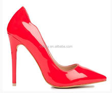 Red color latest high heel ladies bridal wedding shoes