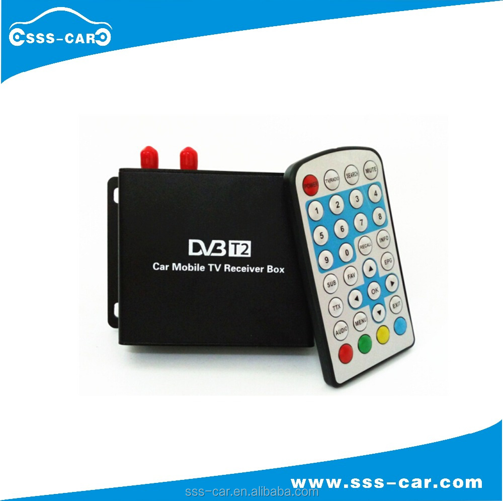 Top sales 2 tuner car dvb t2 digital tv receiver dvb t2 car speed 180km/h