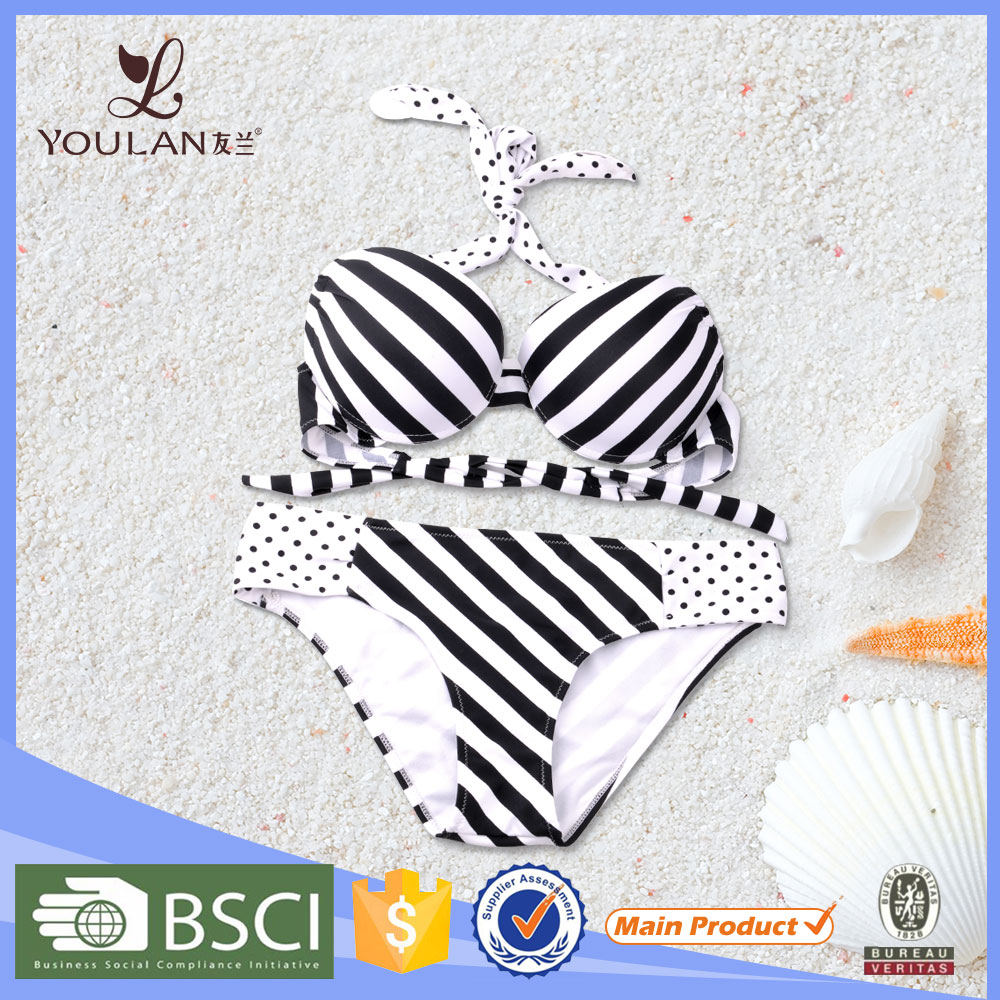 Fashion Design Pretty Stripe Spot Halter Neck Push Up Sexy Japanese Swimwear