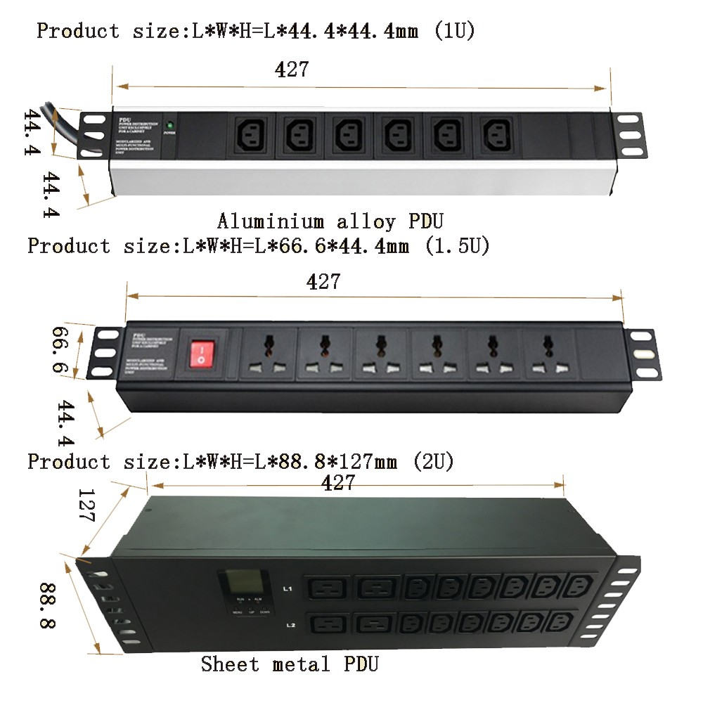 6 outlets rack mount european Germany PDU with AV meter