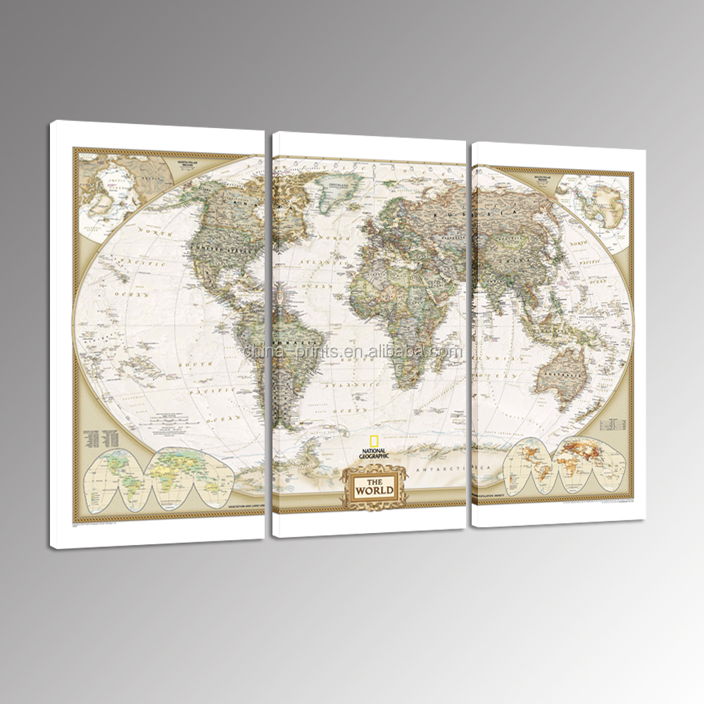 Fashion Modern World Map Canvas Wall <strong>Art</strong> for Couch Wall Decor Stretched and Framed Ready to Hang