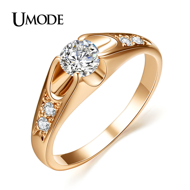 UMODE  Rose Gold Plated Mounting anel feminino aneis bijoux 0.5 ct Zirconia  Engagement Jewelry Rings JR0064A