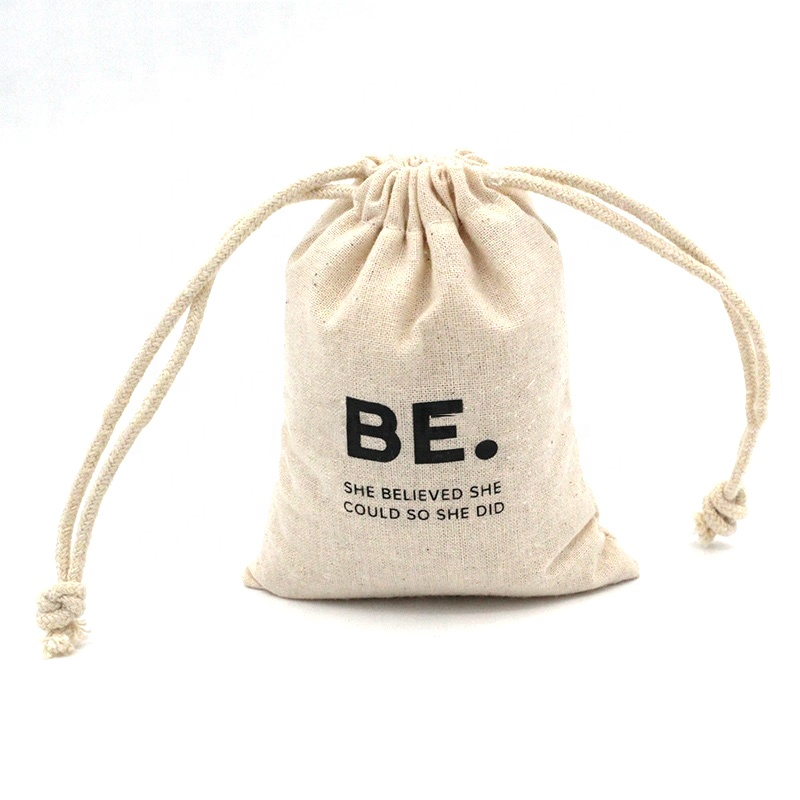 Best good quality small draw string pouch natural cotton muslin cloth drawstring bags with custom logo