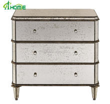 New arrival antique silver leaf and mirrored glass 3 drawers chest