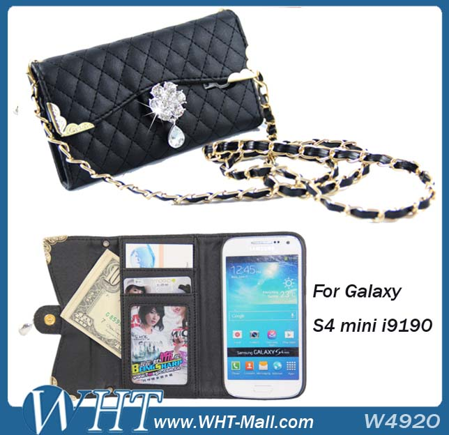 Flip Case For Samsung Galaxy S4 mini i9190 Diamond Wallet Cover
