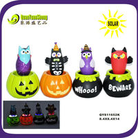 solar polyresin pumpkin light halloween craft QYS11652k