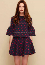 high quality UK high fasion fall winter new arrival cotton ladies polka dot skirts suits