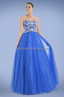 Gorgeous Fetching Strapless Shimmered Jeweled Bodice Evening Dress Lace-up Closure Back Maxi Dress