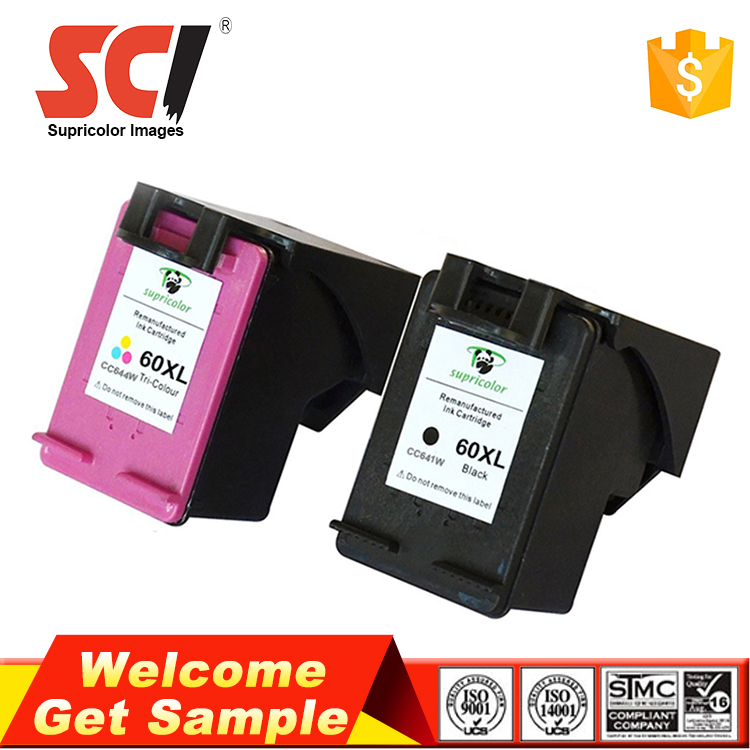 High quality no plug nozzle ink cartridges compatible hp cartridge 60