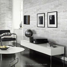 3D White Grey Real Looking Textured Deep Embossed Brick Pattern Wallpaper Roll