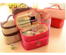 Travel double layer round dots cosmetic makeup bag organizer bag