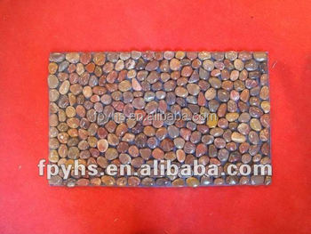 polished pebble stone floor mat