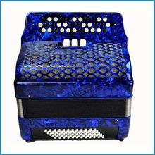 34 key 60 bass 3 variable tone button accordion, keyboard accordion,blue color chromatic accordion