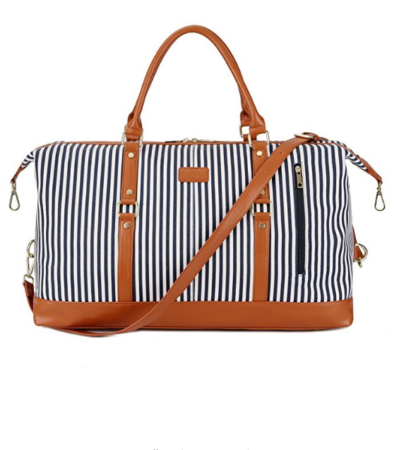 Canvas stripe <strong>travel</strong> with large capacity tote duffel bag overnight bag