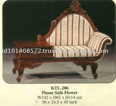 Phone Sofa Flower Mahogany Indoor Furniture