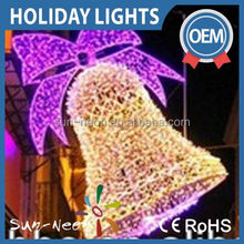 Holiday Decoration Light Christmas Motif Big Bell With Alittle Ball Purple And White Fancy Bell Light