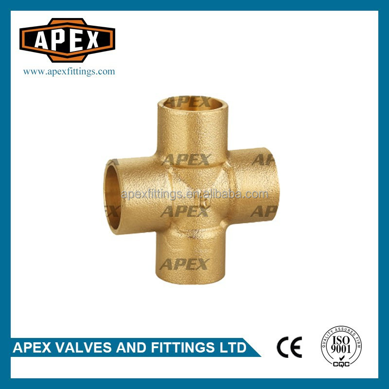 APEX Brass Pipe Equal Cross Solder Fitting