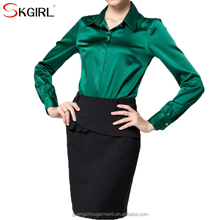 Formal long sleeve button up satin silk office work blouses shirt for elegant women ladie's official wear
