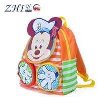 Latest ZQ-A-004 Nylon factory manufactue BSCI daily school Mickey Design cartoon kids school bag