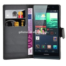 Litchi Leather Foldable Protective Flip Cover Case For Huawei Ascend P6