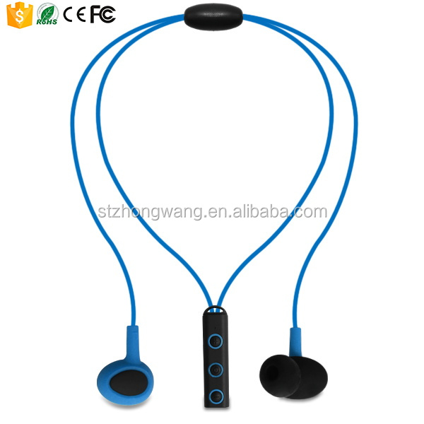 Necklace style stereo wireless bluetooth earphone with 15m use distance